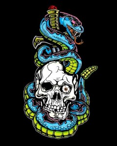 Skull & Blue Snake T-shirt (Black)