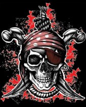 Pirate Skull with Eye Patch T-shirt (Black)